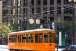 San Francisco Cable car Tram in Market Street downtown California USA