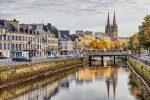 Rivière Odet and cathédrale Saint-Corentin, Quimper, Bretagne France
